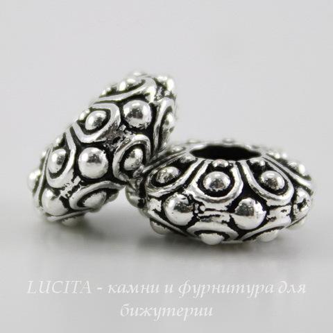 """Бусина - рондель TierraCast """"Casbah"""" 12х5 мм (цвет-античное серебро) ()"""