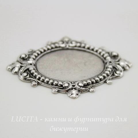 """Сеттинг - основа """"Листва"""" для камеи или кабошона 19х13 мм (оксид серебра) ()"""