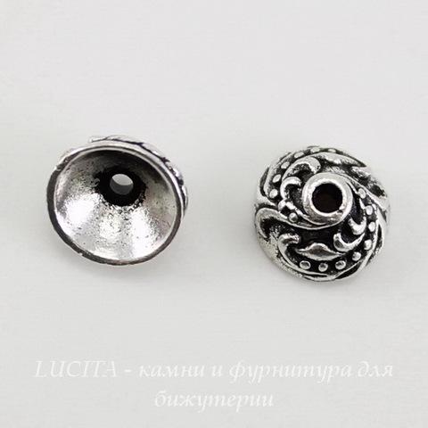"Шапочка для бусины TierraCast ""Плющ"" (цвет-античное серебро) 7х4 мм ()"
