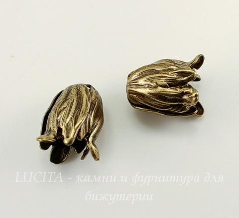 Винтажный декоративный элемент - шапочка в виде тюльпана 12х10 мм (оксид латуни)