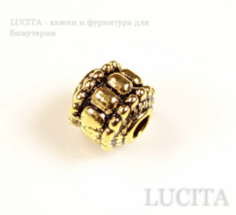 Бусина металлический шарик с узором (цвет - античное золото) 7х7 мм