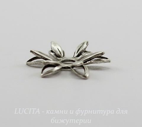 Винтажный декоративный элемент - шапочка двойная 12х3 мм (оксид серебра)