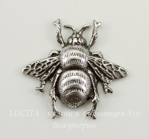 """Винтажный декоративный элемент - штамп """"Пчела"""" 19х18 мм (оксид серебра) (темные)"""