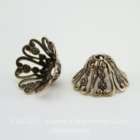 Винтажный декоративный элемент - шапочка 15х7  мм (оксид латуни)