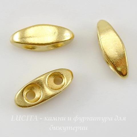 Разделитель на 2 нити TierraCast (цвет-золото) 10х4 мм