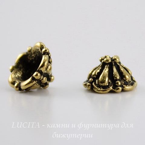 """Шапочка для бусины TierraCast """"Tiffani"""" (цвет-античное золото) 7х4,5 мм ()"""