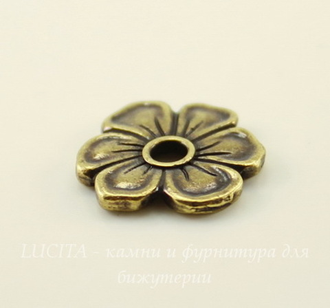 "Элемент под заклепку TierraCast ""Цветок яблони"" 14х13 мм (цвет-античная латунь)"