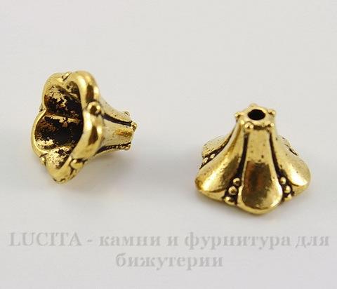 """Шапочка для бусины TierraCast """"Колокольчик"""" (цвет-античное золото) 12х9 мм"""