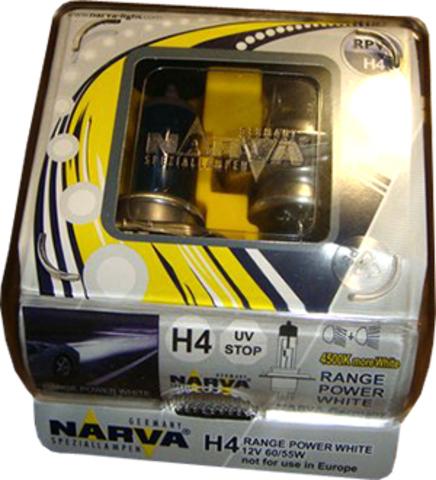 Галогенные лампы Narva H4 Range Power White (4500K) (2шт.)