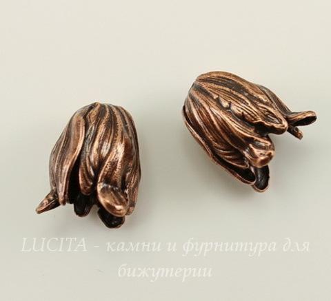 Винтажный декоративный элемент - шапочка в виде тюльпана 12х10 мм (оксид меди) (светлые)