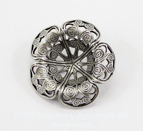 Винтажный декоративный элемент - шапочка 21х7 мм (оксид серебра)