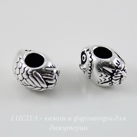 """Бусина TierraCast """"Сова"""" 12х8х8 мм (цвет-античное серебро) ()"""