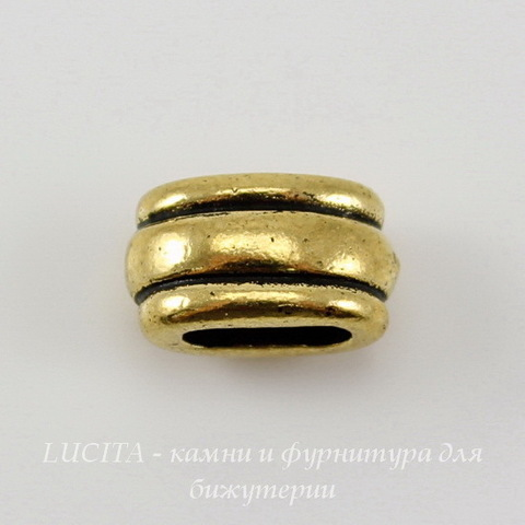 "Бусина для плоского шнура TierraCast ""Deco Barrel"" (цвет-античное золото) 11х6х6 мм"