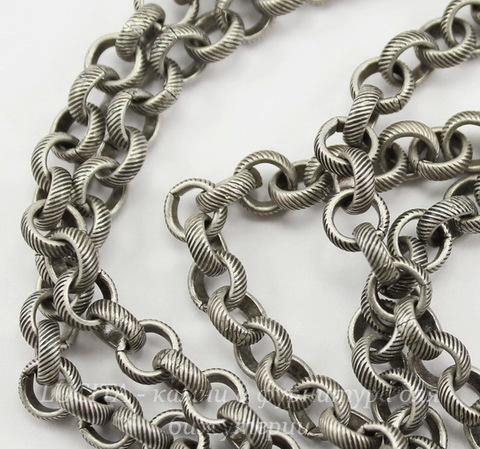 Винтажная цепь (звено 5 мм) (оксид серебра), 10 cм