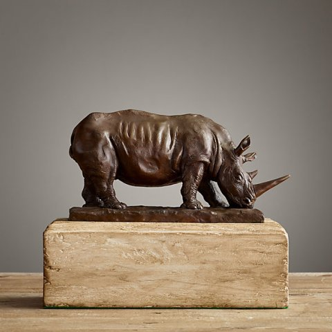 Статуэтка Носорог Миниатюра Бронза от Restoration Hardware