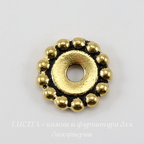 """Бусина - спейсер TierraCast """"Бусинки"""" (цвет-античное золото) 11х2 мм"""