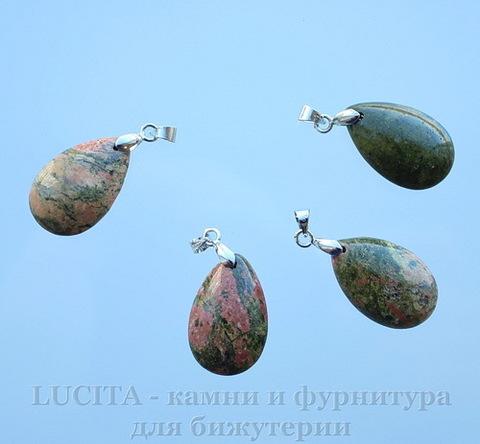 "Подвеска Унакит ""Капля"" (цвет - античное серебро) 24х15х9 мм"
