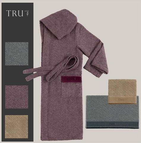 Элитный махровый халат Stir светло-серый от Trussardi