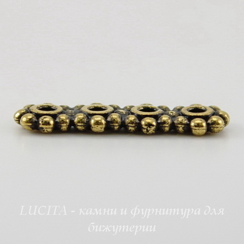 Разделитель на 4 нити TierraCast (цвет-античное золото) 21х6х2 мм ()
