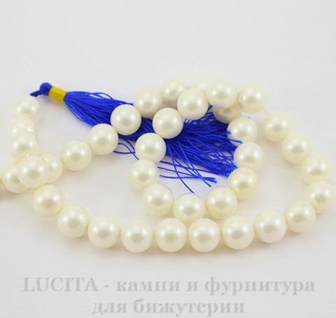 Бусина Перламутр (категория А)(тониров), шарик, цвет - белый, 10 мм, нить