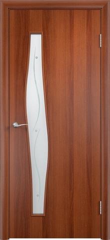 Дверь Верда С-10 (фьюзинг), цвет итальянский орех, остекленная