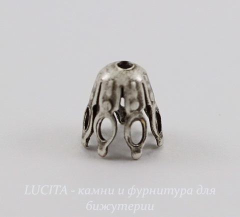Винтажный декоративный элемент - шапочка 7х6 мм (оксид серебра)
