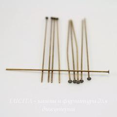 Винтажные пины - гвоздики (оксид латуни) 51х0,7 мм, 10 штук