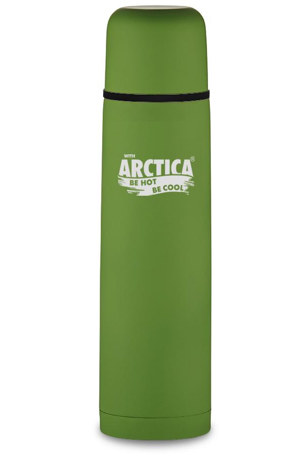 Термос Арктика (0,75 л.) с узким горлом классический, зеленый, резиновое покрытие