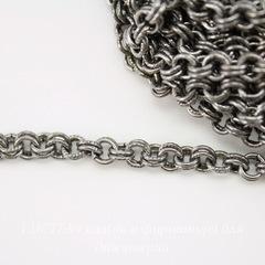 Винтажная цепь двойная (звено 4 мм) (оксид серебра), 10 cм