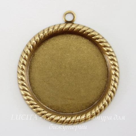 """Сеттинг - основа - подвеска """"Плетенка"""" для камеи или кабошона 21 мм (оксид латуни) ()"""