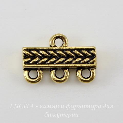 """Коннектор TierraCast """"Косичка"""" (1-3) 15х10 мм (цвет-античное золото) ()"""