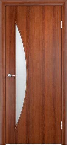Дверь Верда C-6, цвет итальянский орех, остекленная