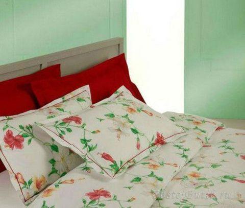 Постельное белье 1.5 спальное Mirabello Hibiscus кремовое с красными цветами