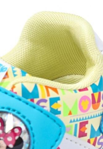 Кроссовки Минни Маус (Minnie Mouse) на липучке для девочек, цвет голубой белый. Изображение 8 из 8.