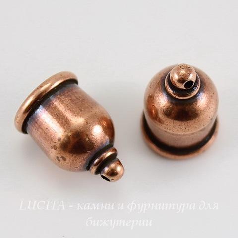 """Концевик для шнура 8 мм TierraCast """"Taj"""" (цвет-античная медь) 16х11 мм ()"""