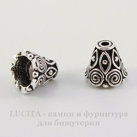 """Шапочка для бусины TierraCast """"Спираль"""" (цвет-античное серебро) 9х8,5 мм"""