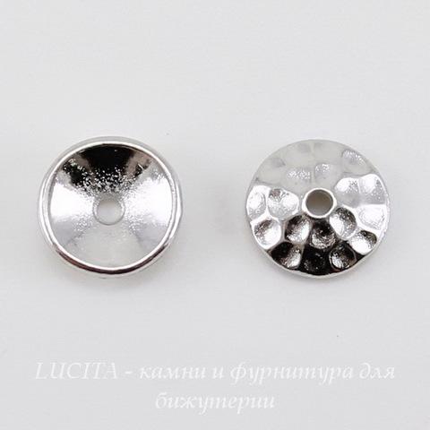 "Шапочка для бусины TierraCast ""Hammertone"" (цвет-платина) 8х2,5 мм ()"