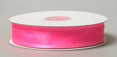Лента органза с атласной полоской 2,5см густо-розовый