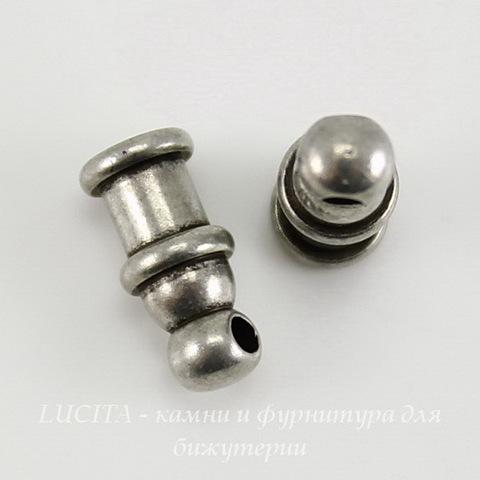 "Концевик для шнура 2 мм TierraCast ""Pagoda"" (цвет-античное серебро) 10х4 мм ()"