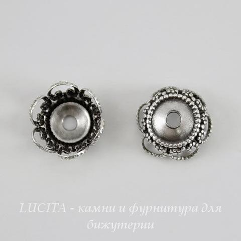 Винтажный декоративный элемент - шапочка 9х4 мм (оксид серебра) ()