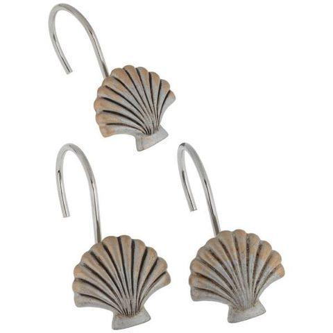 Набор из 12 крючков для шторки Seaside Silver от Carnation Home Fashions