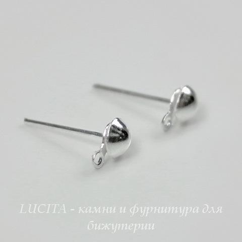 Пуссеты - гвоздики 14 мм с петелькой (цвет - серебро) 5 пар (с заглушками)
