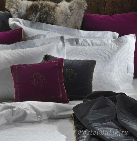 Постельное белье 2 спальное Roberto Cavalli Damasco белое