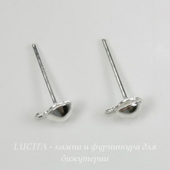 Пуссеты - гвоздики 7х4 мм с петелькой (цвет - серебро) 5 пар (с заглушками)