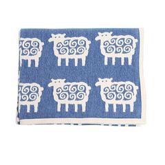 Одеяло детское /плед/ хлопок-ЭКО Klippan, Барашки, 90x140 см, голубой-белый