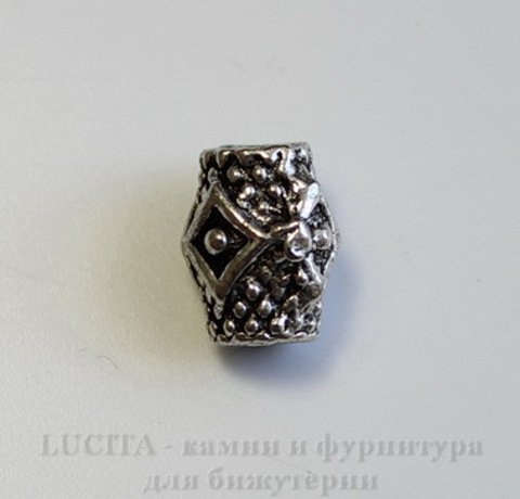 """Бусина металлическая """"Ромбики"""" (цвет - античное серебро) 9х7 мм ()"""