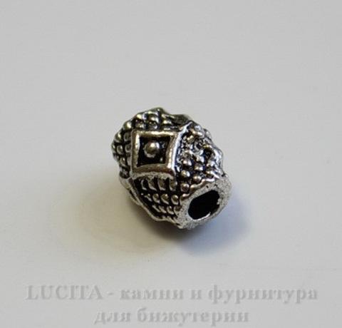 """Бусина металлическая """"Ромбики"""" (цвет - античное серебро) 9х7 мм"""