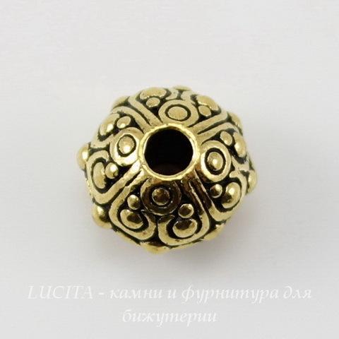 """Бусина - рондель TierraCast """"Оазис"""" 10х8 мм (цвет-античное золото) ()"""