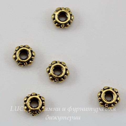 Бусина - спейсер TierraCast (цвет-античное золото) 4х2 мм, 5 штук