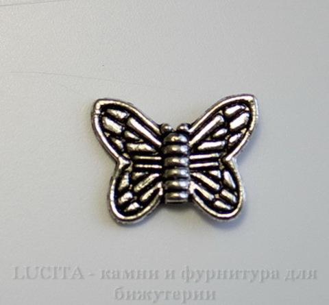 """Бусина металлическая """"Бабочка"""" (цвет - античное серебро) 15х10 мм , 10 штук"""